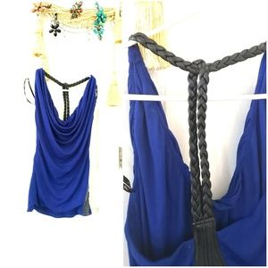 Sky brand scoop royal blue braided leather t